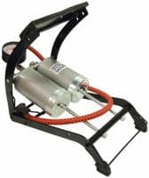 DOUBLE BARREL CYLINDER FOOT PUMP CAR BICYCLE TYRE AIR INFLATOR MOTOR BIKE CYCLE